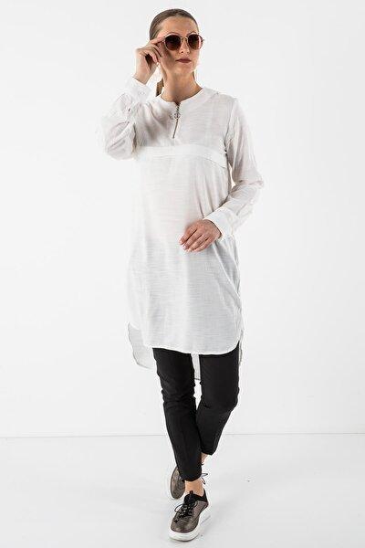 Kadın Beyaz Fermuar Yaka Tunik 101022192131