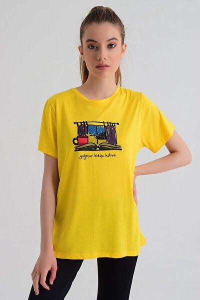 Kadın T-shirt - Wormie Yağmur-Kitap-Kahve - WRMSYKH