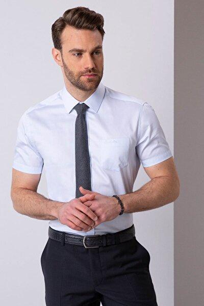 Erkek Açık Mavi Regular Fit Kısa Kollu Gömlek