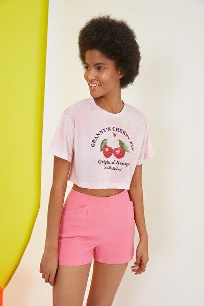 Pembe Super Crop Batik Örme T-Shirt TWOSS21TS2625