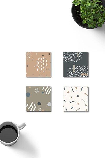 Dekoratif Geometrik Desenli Ahşap Bardak Altlığı 4'lü Set