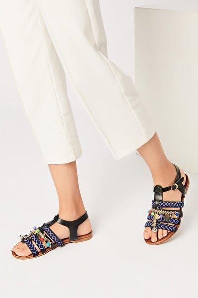 Hakiki Deri Siyah Kadın Sandalet 120120083010