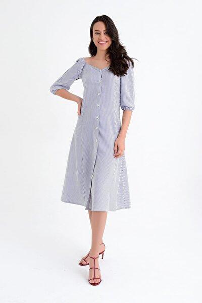 Kadın Lacivert Beyaz Çizgili Fakir Kollu Uzun Elbise HN1767