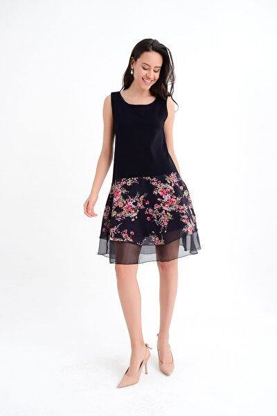 Kadın Siyah Kolsuz Eteği Çiçekli Kloş Elbise HN1807