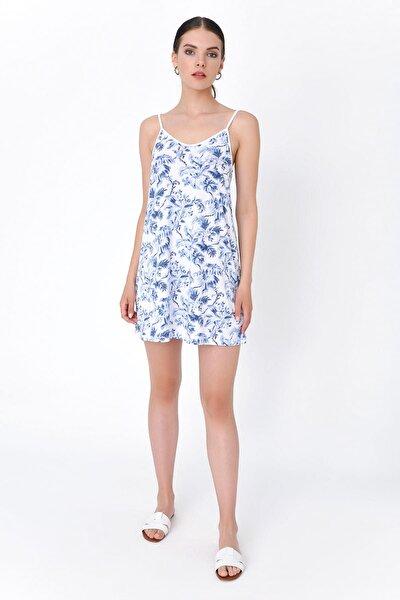 Kadın Beyaz İp Askılı Çiçekli Mini Elbise HN2019