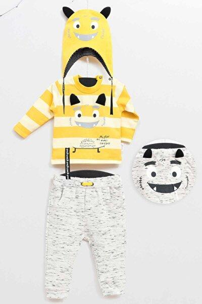 Limon Sarı Erkek Bebek Alt Üst Şapka 3Lü Takım