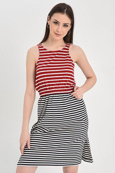 Kadın Kırmızı-Siyah Kolsuz Çizgili Beli Lastikli Yırtmaçlı Elbise Hn1284