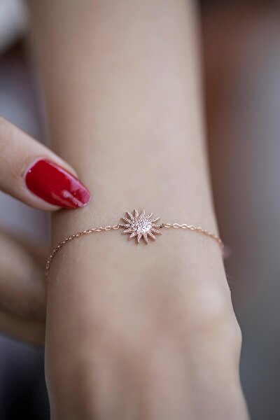 Kadın Güneş Model Zirkon Taşlı Rose Kaplama Gümüş Bileklik İZLASLVR00349
