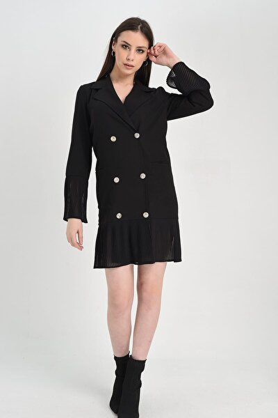 Kadın Siyah Kolu Ve Eteği Pilise Detaylı Düğmeli Ceket Elbise HN1253