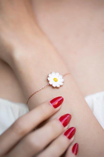 Kadın Papatya Model Mineli Rose Kaplama Gümüş Bileklik İZLASLVR00371