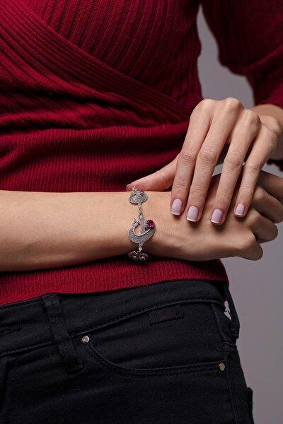Elif Vav Model Mardin Hasırı Yakut Taşlı Gümüş Bileklik
