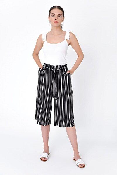 Kadın Siyah Çizgili Cepli Ve Kemer Detaylı Pantolon HN2100