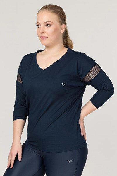 Büyük Beden Lacivert Kadın Antrenman T-Shirt FS-1769