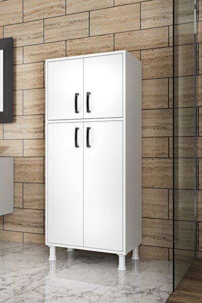 F2 Çok Amaçlı Dolap 4 Kapaklı 5 Raflı Banyo Balkon Mutfak Dolabı Beyaz M4