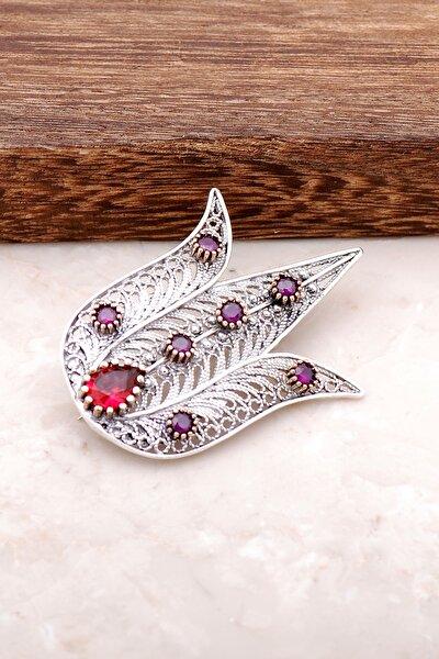 Lale Tasarımlı Telkari İşlemeli Gümüş Broş 318