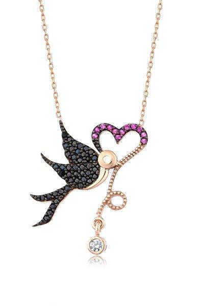 Kadın 925 Kalp Taşıyan Kuş Kolye MA_KL_1493