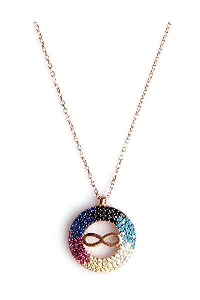 Renkli Zirkon Süslemeli Sonsuzluk Tasarım 925 Ayar Gümüş Kolye KLY-0066-21