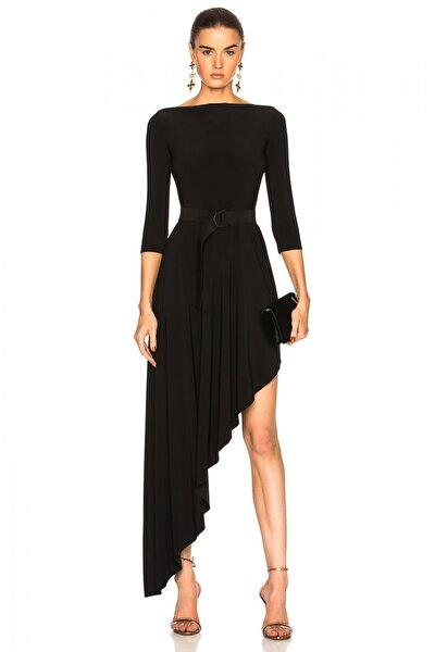 Kadın Asimetrik Kesim İpek Jarse Elbise 248902