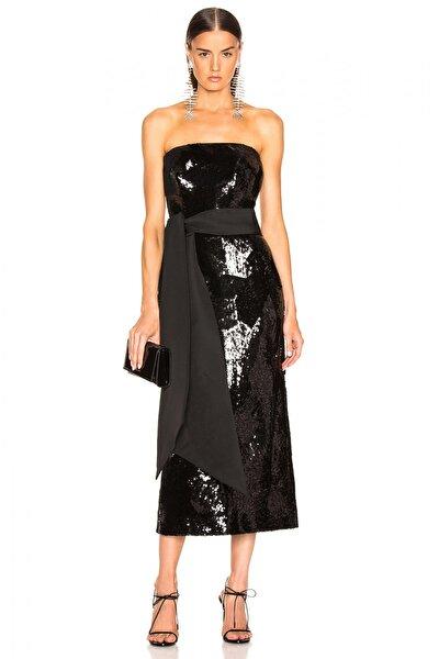 Kadın Geniş Kuşaklı Straplez Payet Elbise 4501628