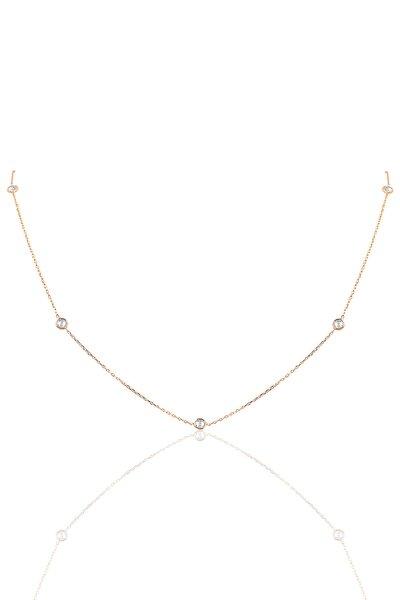 Gümüş Sıra Taşlı 45 Cm Kolye SGTL9830