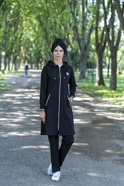 Kadın Siyah Kapüşonlu Eşofman Takımı 1010