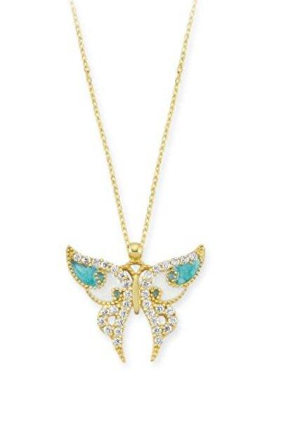 14 Ayar Altın Mavi Kelebek Kolye KLY887