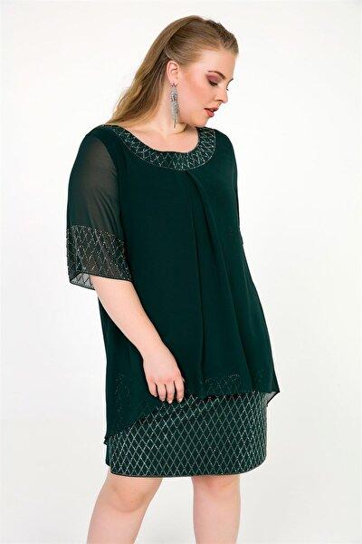 Kadın Koyu Yeşil Üstü Şifon Eteği Taşlı Büyük Beden Likra Elbise Koyu Yeşil S-19Y1040015