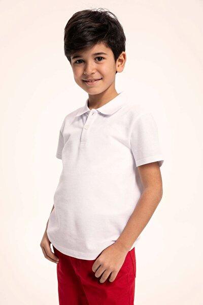 Beyaz Erkek Çocuk Yakası Çizgili Polo T-Shirt