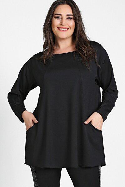 Kadın Siyah Cepli Parçalı Tunik M9292