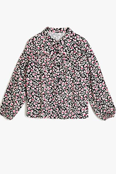 Kız Çocuk Pembe Çiçek Desenli Gömlek BLOUSE LS