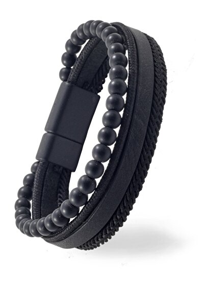 Siyah Deri Örgü Boncuklu Erkek Bileklik ALM0054397
