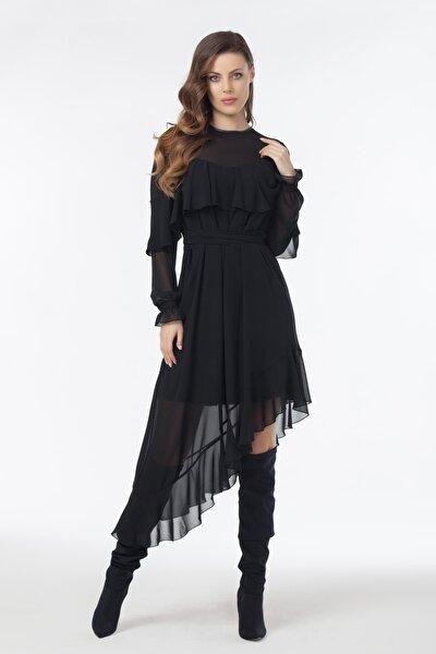 Kadın Siyah Asimetrik Kesim Şifon Elbise 19L6447