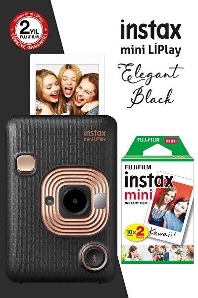 instax mini LiPlay Hybrid Elegant Black Fotoğraf Makinesi 20li mini Film