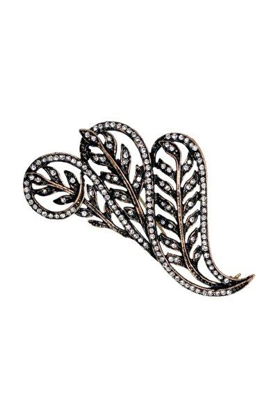 Kadın Yaprak Swarovski Taşlı Elmas Montür Yaka İğnesi Broş