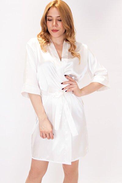 Kadın Robe with Wings Kanat Nakışlı Saten Sabahlık KNT112