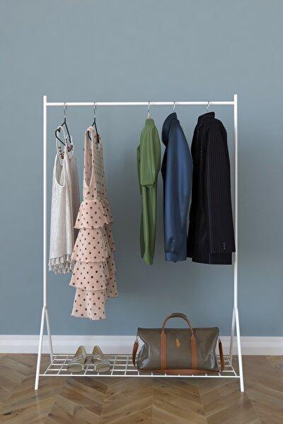Loft 1 Raflı Metal Portmanto Ayaklı Elbise Askısı Ve Konfeksiyon Askılık - Beyaz