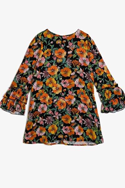 Kız Çocuk Siyah Renkli Çiçek Desenli Elbise