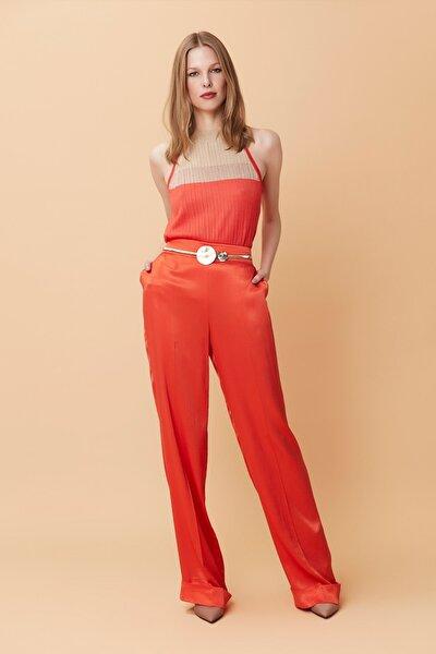 Kadın Turuncu Double Paça Yüksek Bel Pantolon IS1190003133127