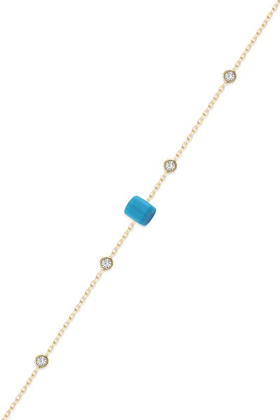 Kadın Tiffany Zincirli Mavi Boncuk Bileklik GCB684