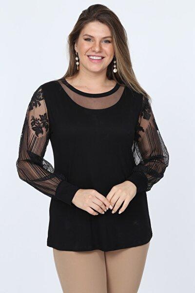 Kadın Siyah Kolları Dantel Viskon Bluz BKT0001