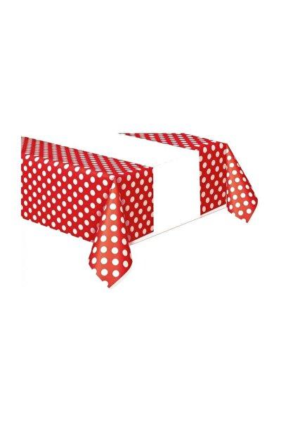 Beyaz Puantiyeli Kırmızı Masa Örtüsü 120cmx180cm Doğum Günü Parti
