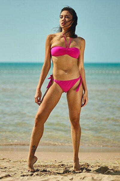 Kadın Pembe Straplez Bikini Üstü