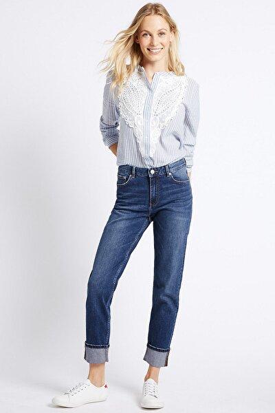 Kadın Mavi Orta Belli Slim Jean Pantolon T57008607