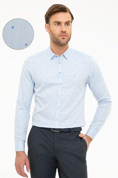 Erkek Açık Mavi Slim Fit Gömlek G021GL004.000.989076