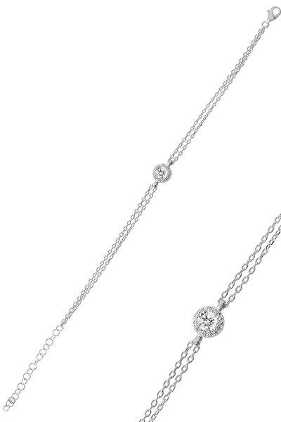 Gümüş Pırlanta Montürlü Tek Taşlı Bileklik SGTL9914