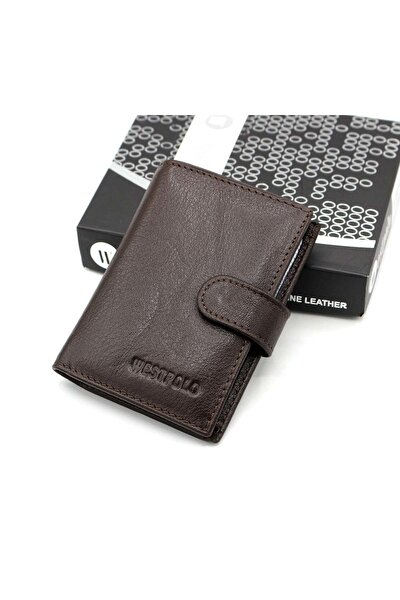 Kahverengi Erkek Deri Patlı Kağıt Para Gözlü Şeffaf Kartlık WP3068