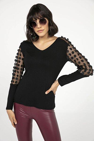 Kadın Siyah Omuzu Ve Kolu Yapraklı Çilek Likra Bluz Siyah S-20K3280011