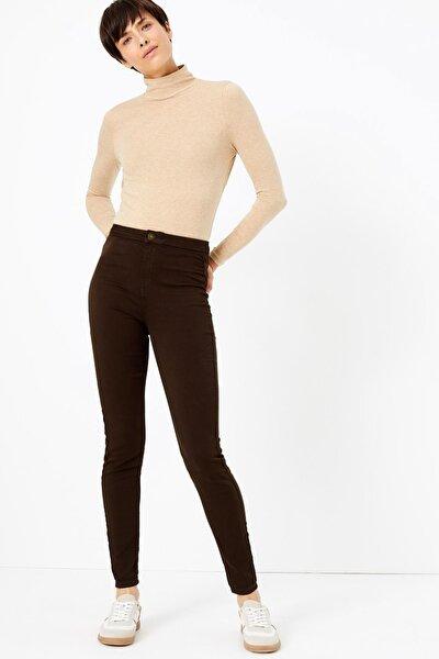 Kadın Kahve Yüksek Bel Super Skinny Jean Pantolon T57008605