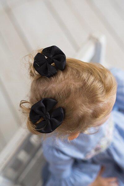 Siyah Kız Çocuk 2'li Klips Fiyonk Sateen