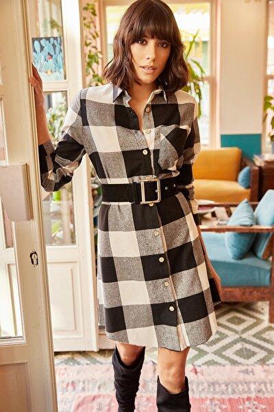 Kadın Siyah Oduncu Kalın Ekose Tunik Elbise ELB-19000836